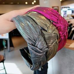 Kobiety eleganckie lśniące węzeł Hairbands słodka ozdoba do włosów opaska nakrycia głowy opaska na głowę obręcz do włosów Lady Fashion akcesoria do włosów