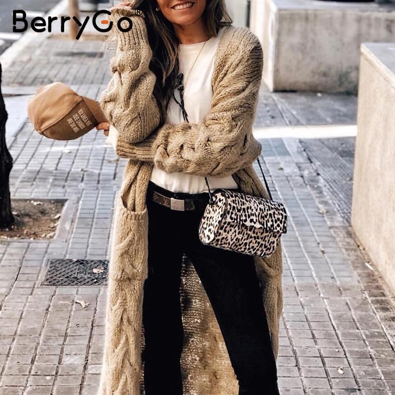 BerryGo ヴィンテージモヘアロングカーディガン女性セーター女性長袖ポケット冬カーディガンカジュアルニット純粋なジャンパー