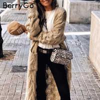 BerryGo Vintage mohair long cardigan women sweaters female Long sleeve pocket winter cardigans Casual knitwear pure jumpers
