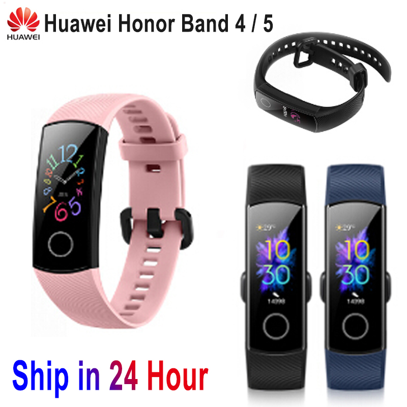 Huawei Honor Band 5 4 Smart Wristband Standard Version Amoled Color Touchscreen Swim Detect Heart Rate Sleep Running Smart Band image