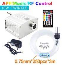 Fber plafonnier optique CREE 10W RGBW, éclairage led contrôlé par application Bluetooth, plafonnier en ciel étoilé, commande musicale 250 pièces, câble 3M 0.75mm