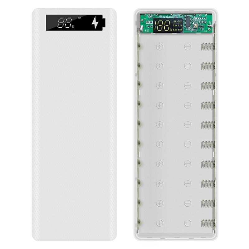 LCD Display DIY 10x18650 Battery Case Power Bank Shell Charger Box Accessories Battery Storage Boxes     - title=
