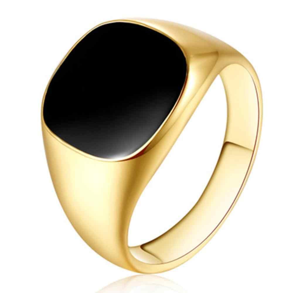 Anillo de acero inoxidable con diseño minimalista chapado en oro negro esmaltado para hombre talla 7-12