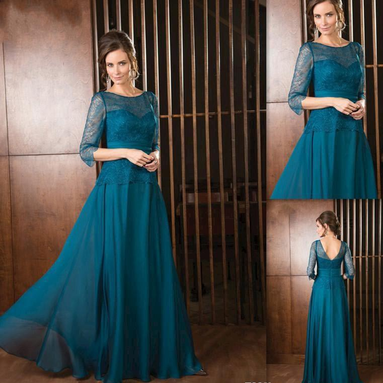 Plus Size Elegant 2015 Green Chiffon And Lace Mothers Dresses For Beach Weddings With Three Quarter Sleeve Bride Grooms Gown
