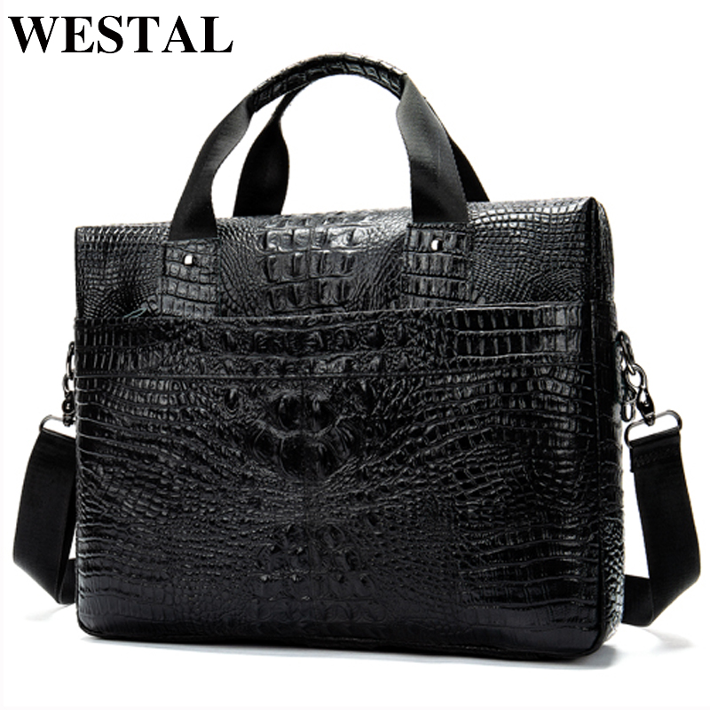 WESTAL Messenger Bag Men Shoulder Bag Genuine Leather Casual Male Briefcases Laptop Male Bussiness Alligator Bags For Men 5555