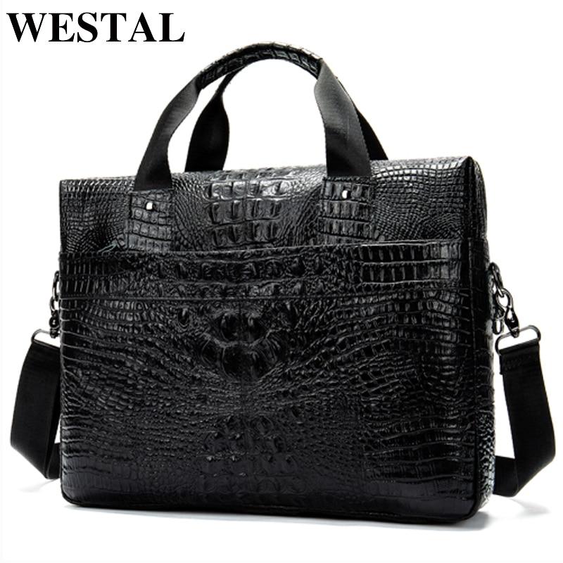 WESTAL Messenger Bag Men Shoulder Bag Genuine Leather Casual Male Briefcases Laptop Male Bussiness Alligator Bags For Men 5555