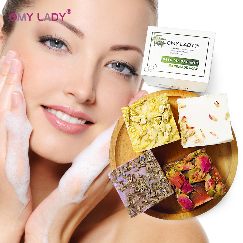 OMY LADY Cooling Flower Handmade Soap Whitening Acne Essential Oil Soap for Bath Face Cleanser Deep Clean Moisturizing Skin Care