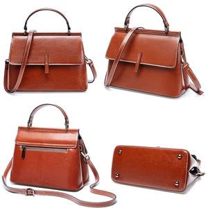 Image 5 - Zency 100% Genuine Leather Retro Brown Women Tote Bag Small Flap Daily Casual Shoulder Messenger Bags Black Grey Handbag