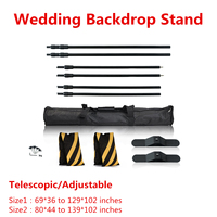10/8FT High Wedding Backdrop Pipe/Stand with Heavy Base Telescopic Adjustable Curtain Frame Photo Banner Backdrop Stand