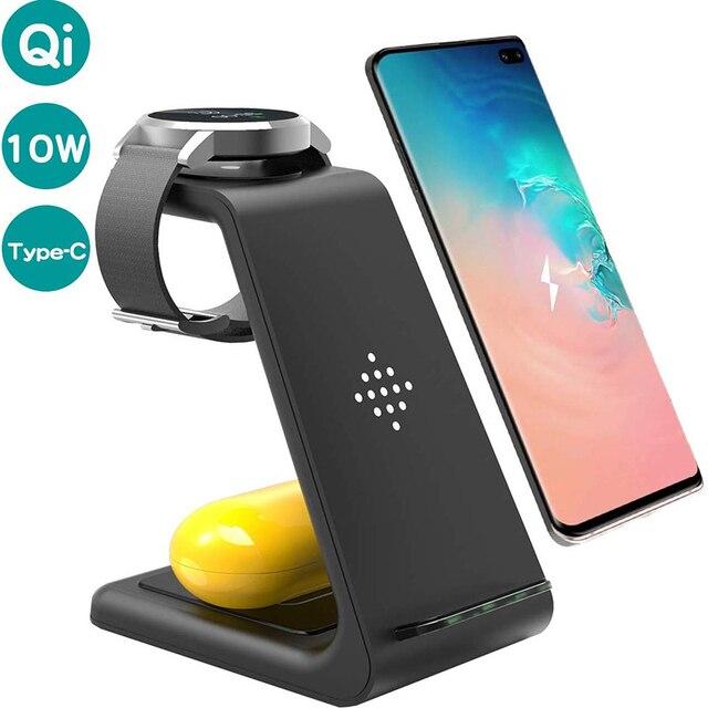 3 en 1 chargeur sans fil pour Iphone 11/X Apple Watch Airpods Pro station daccueil de Charge sans fil pour Samsung S10 Samsung montre Galaxy bourgeons