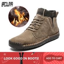 Botas de nieve de marca para hombre, botas de nieve masculinas cálidas de felpa, antideslizantes, impermeables, zapatos de trabajo de otoño, gran oferta