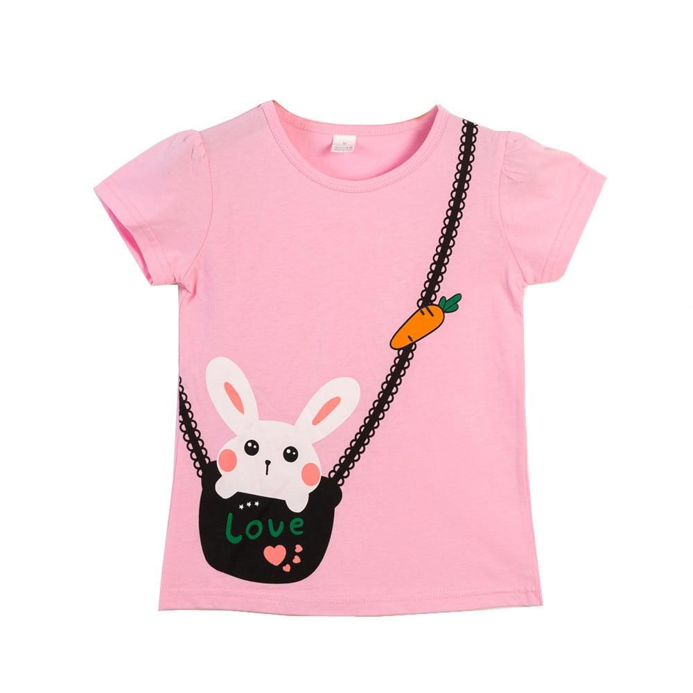 VIDMID  Children T-Shirts Cartoon Print Kids Baby girl Tops Short Sleeve T-Shirt children cotton pink t-shirts tees 4137 03 6