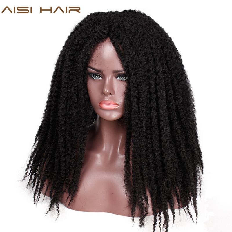 AISI HAIR Dreadlock Marley Braids Ombre Braiding Hair Wig Synthetic Afor Kinky Curly Black Brown for Women/Men
