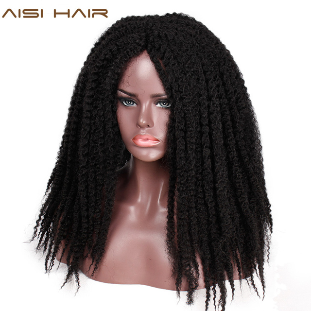 AISI HAIR Dreadlock Marley Braids Ombre Braiding Hair Wig Synthetic Afor Kinky Curly Wig Black Ombre Brown for Women/Men