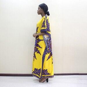 Image 4 - 2019 Nieuwste Arrivals Fashion Afrikaanse Dashiki Patroon Gedrukt O hals Batwing Mouwen Geel Puur Katoen Lange Jurken Voor Vrouwen