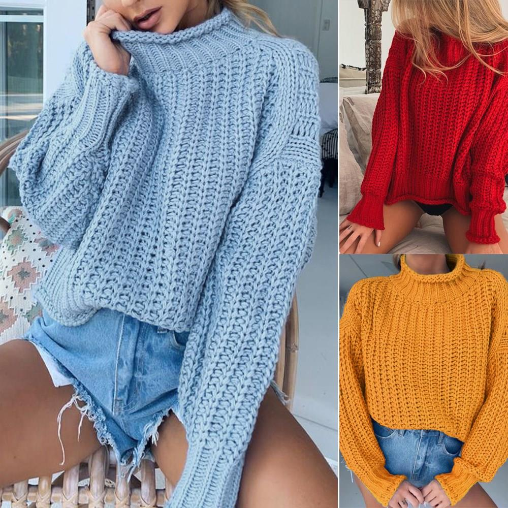 Nice Knitted Sweater Pullover Jumpers Ladies Turtleneck Warm Sweaters Solid Woman Full Sleeve Top Femme