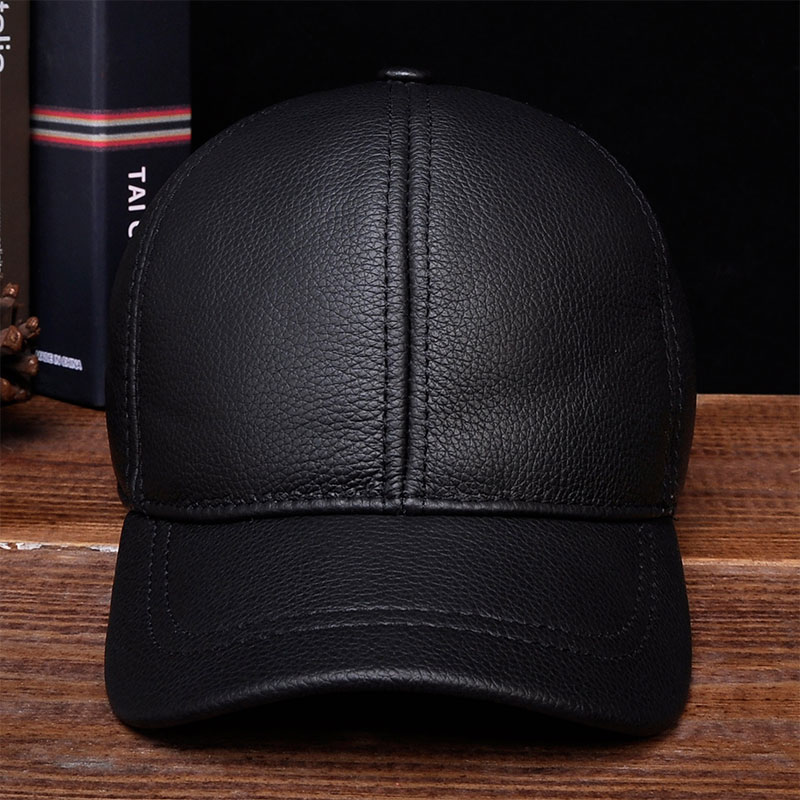HL130 2018 Mens genuine leather baseball cap hat brand new style spring winter Russian warm one fur caps hats