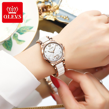 New Fashion OLEVS Luxury Brand Women Mechanical Watch Ceramics Watch Strap Automatic Mechanical Watches for Women Gift for Women 1