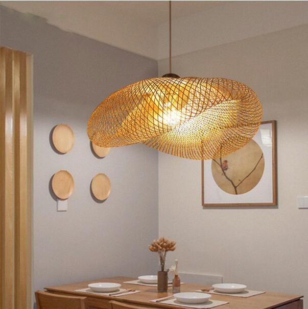 Nordic Wood Pendant Lamp Kitchen Bamboo Fixtures Led Pendant Light Suspension Home Indoor Dining Room Hanging Lamp LED Luminaire