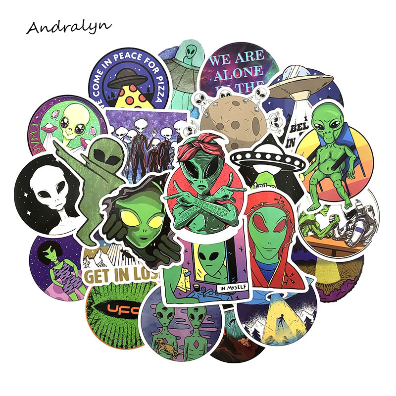 50Pcs/Set Alien Decal <font><b>Stickers</b></font> <font><b>UFO</b></font> Cartoon Graffiti <font><b>Stickers</b></font> For DIY Luggage Laptop Refrigerator Motorcycle Car Pegatinas image