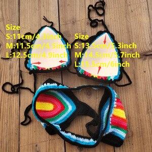 Image 5 - Handmade Crochet Bikini Set Rainbows Rasta Tassel Women Swimwear Push UP Sexy Swimsuit Vacation