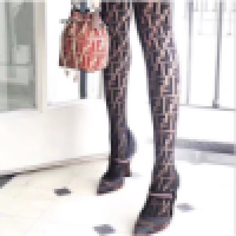 Sexy Women Black Pantyhose Tights F Letter Printing Winter Pantyhose Female High Waist Fishnets Hosiery