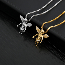 Angel Baby Crystal Pendant Necklaces Titanium Steel Gold Color Long Chain Choker Hip-hop Necklace For Men Colar Gift Jewelry BFF fashion angel wings necklace for women animal pendant gold color chain statement choker necklaces guardian angel gift card