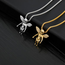 Angel Baby Crystal Pendant Necklaces Titanium Steel Gold Color Long Chain Choker Hip-hop Necklace For Men Colar Gift Jewelry BFF(China)