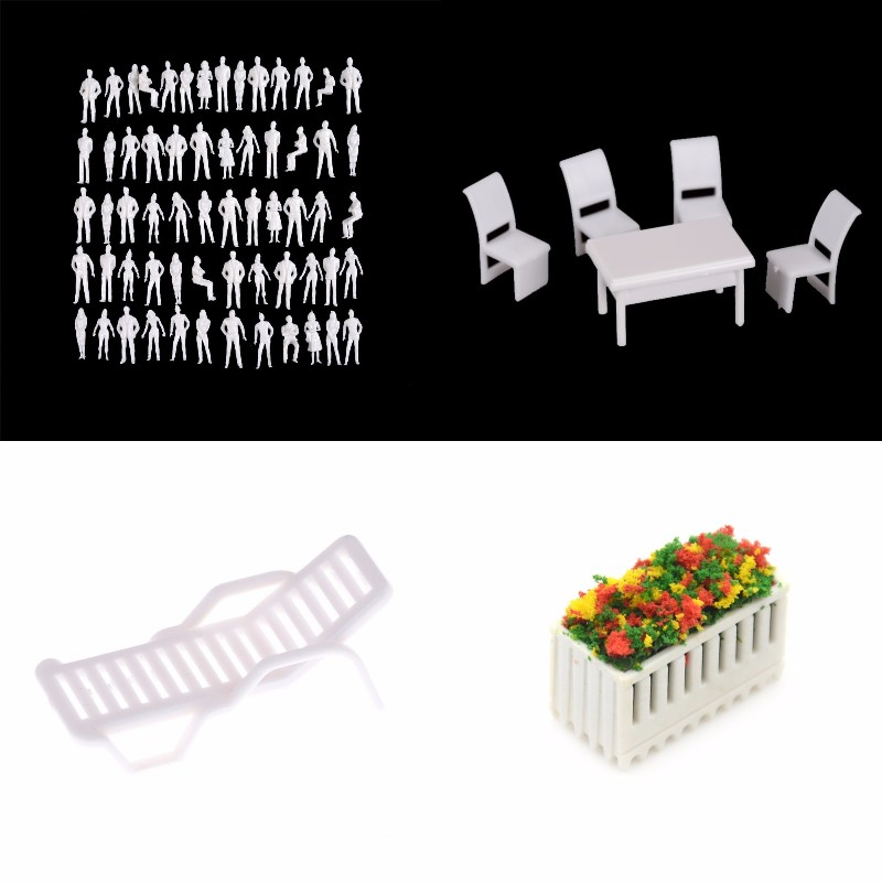 5Pcs/set 1:50 Scale Dollhouse Miniature Architectural Model Human Dining Chair Table Beach Chair Flower Furniture Set For Doll