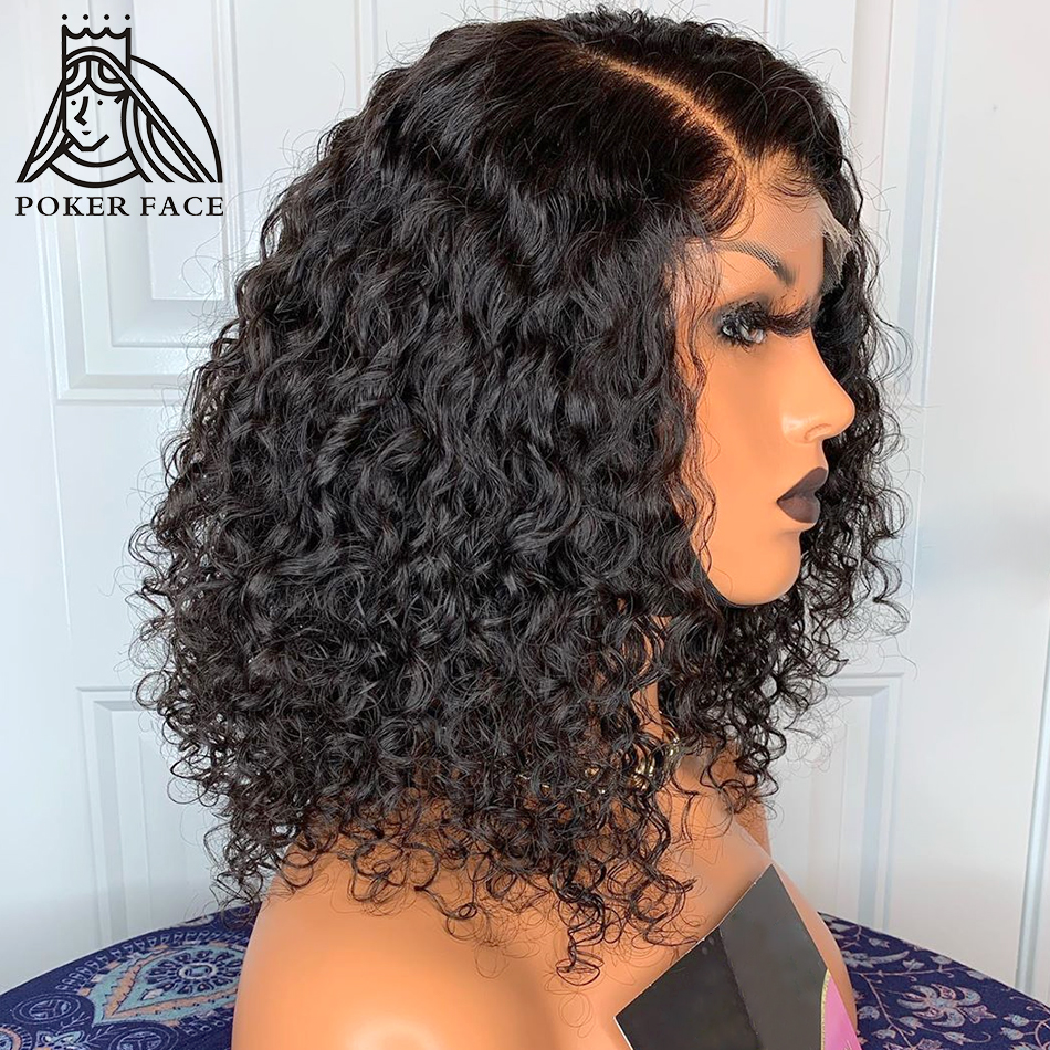 Jerry Curly Short Lace Front Human Hair Wigs For Black Women Brazilian Remy Hair Deep Wave Lace Frontal BOB Wigs With Baby Hair