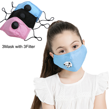 4 Set Kids Anti Pollution PM2.5 Cotton Cartoon Mouth Mask Breath Valve Filter Papers Kids Anti-Dust Mask Activated Carbon Filter 1