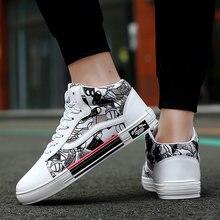 Парусиновые женские туфли для скейтборда граффити высокие модная