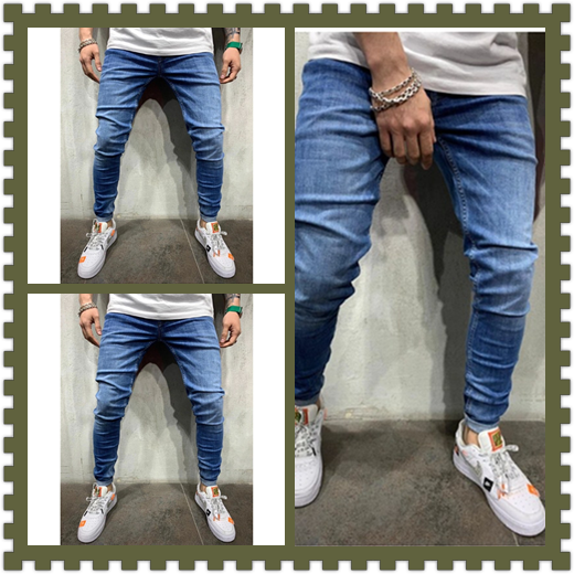 2019 Hot Sale Men's Jeans Skinny Jeans Solid Color Casual Pants Elastic Waist Plus Size European Trousers