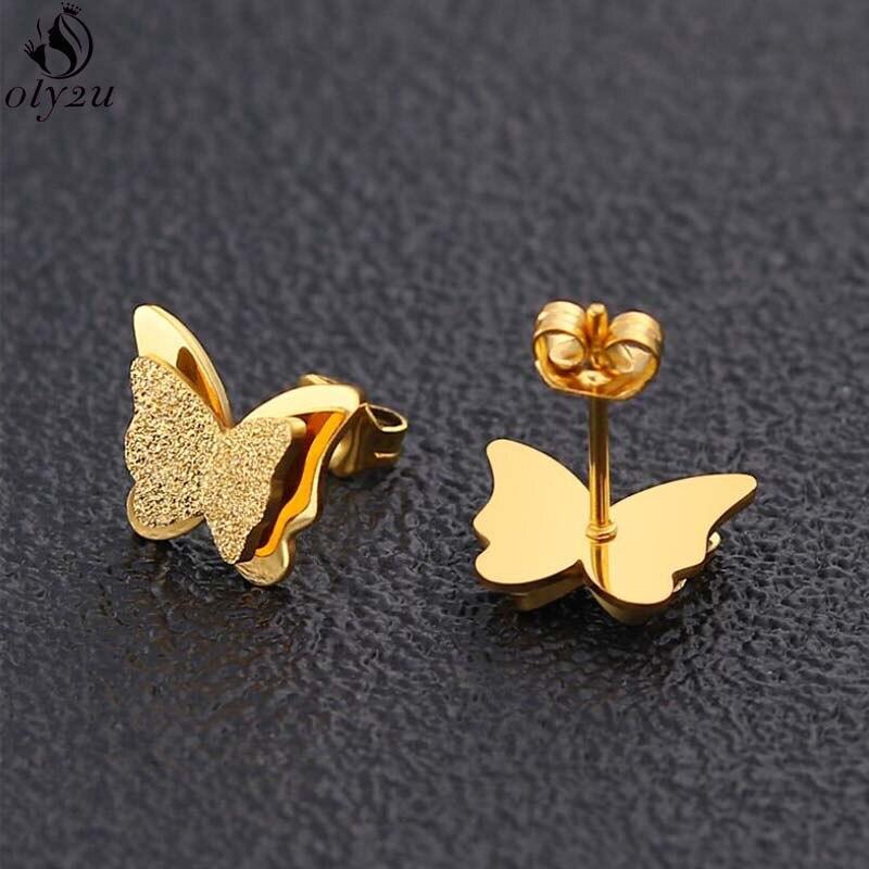 Милые серьги-бабочки из розового золота с эффектом потертости, изысканные серьги-гвоздики из нержавеющей стали с животными для девочек, дет...