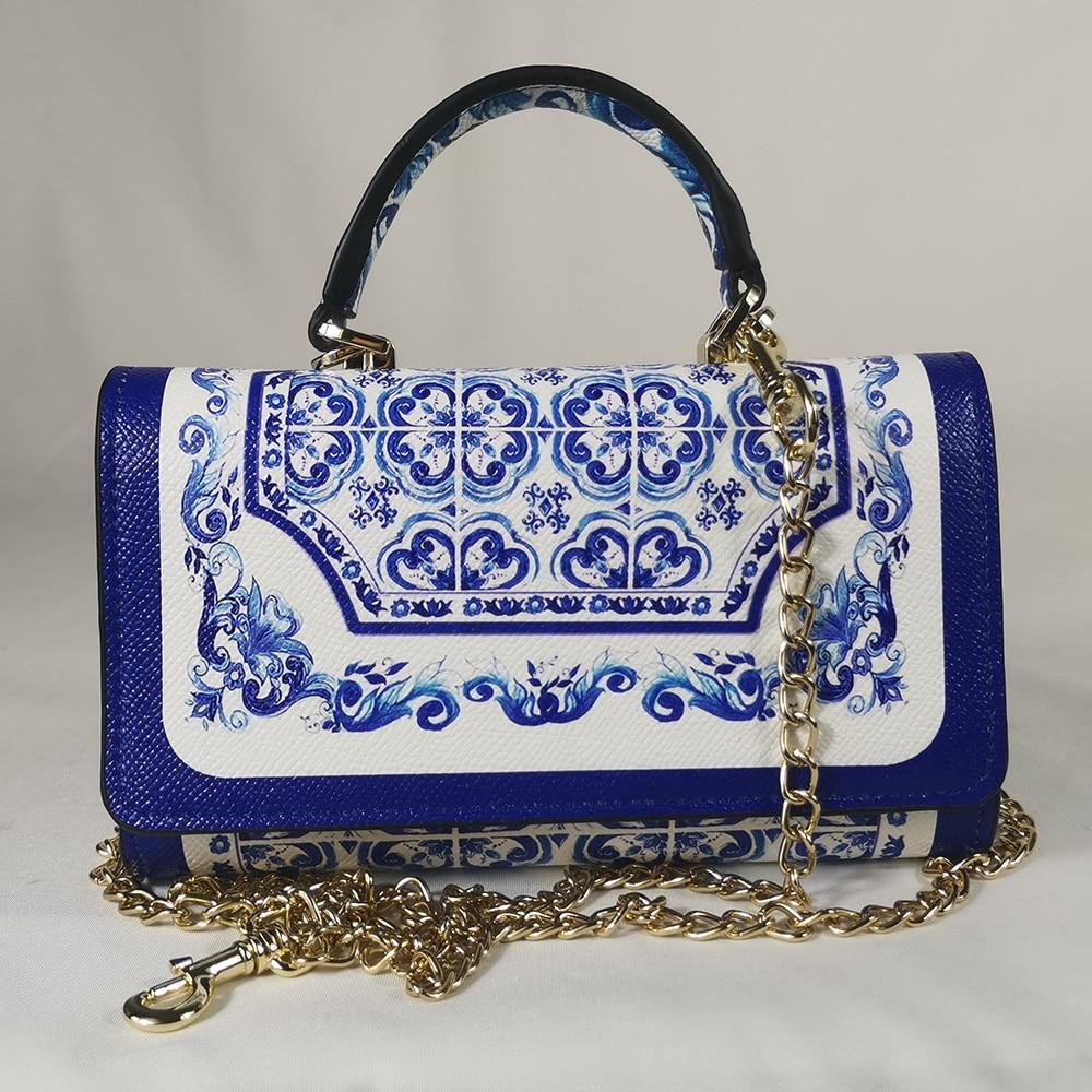 Vers Handtas Vierkante Tas Blauw Blauw En Wit Porselein Vierkante Wilde Tas Vierkante Handtas Mini Tas Elegant Wallet Phone