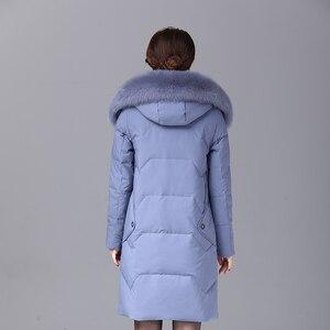 Image 5 - 2019 kış kadın ördek uzun kaban parka uzun ultralight doğal tüy gerçek tilki kürk lüks yüksek kalite ördek aşağı ceket #8929