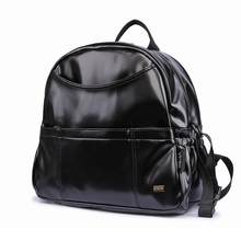 Nova moda pu preto fralda mochila para o bebê grande capacidade à prova dwaterproof água bolsos saco de fraldas para a mãe viagem carrinho
