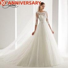 BAZIIINGAAA יוקרה חתונה שמלת שרוול ארוך גולף Applique תחרה חתונה נובל Applique מוסלמי כלות תמיכה תפור