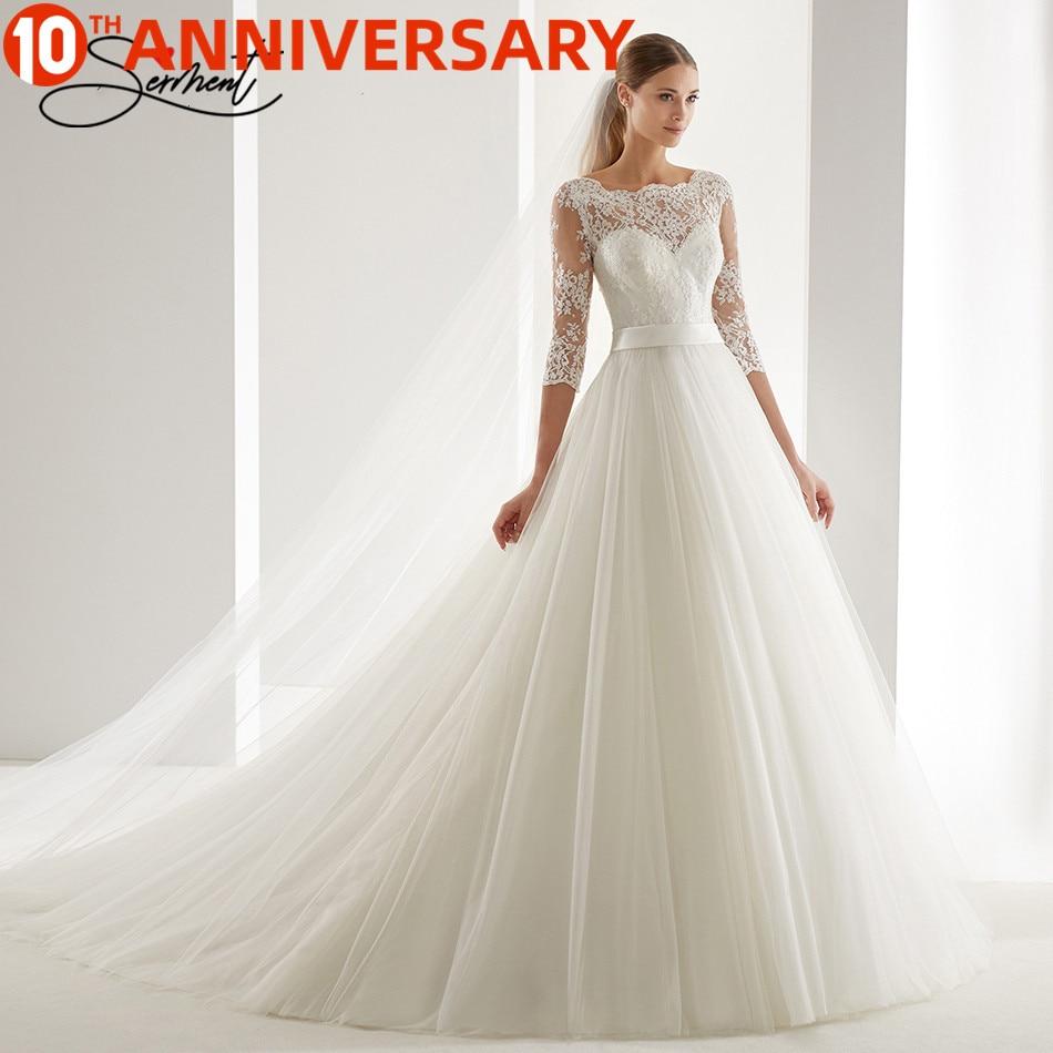 OllyMurs 2020 Luxury Wedding Dress Long Sleeve Turtleneck Applique Lace Wedding Noble Applique Muslim Brides Support Tailor madeWedding Dresses   -