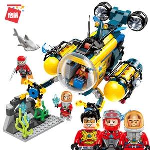Lepinblock Deep Sea Diver Adventure City Water Shark Mining Drilling Machine Submarine Building Blocks Kids DIY Toy for Children