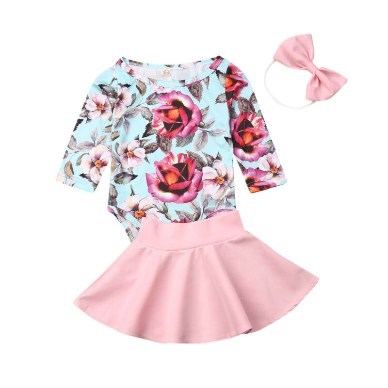 Baby Girl Floral Long Sleeve Bodysuits Tops Toddler Rompers Skirt Headband Clothing Autumn Clothes 3 Pieces Set
