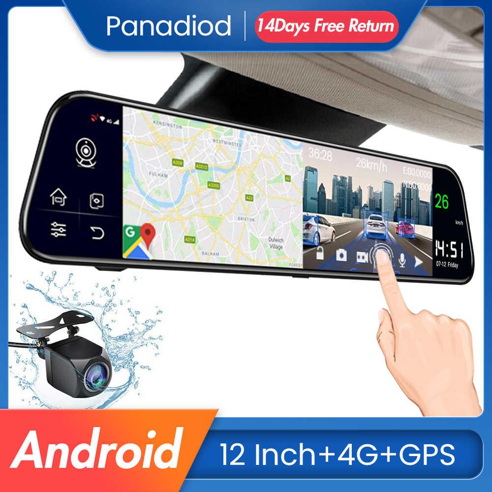 12 Polegada carro dvr android 8.1 4g wifi gps navegação espelho retrovisor gravador de carro automático dvr espelho traço câmera fhd carro espelho