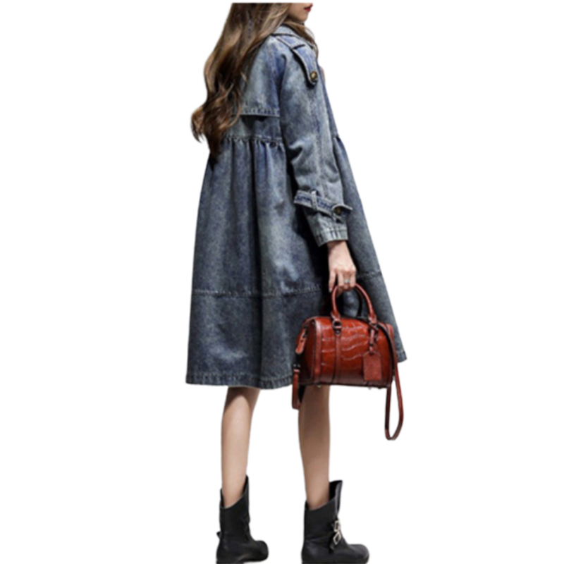 Cowboy Loose Trench Coat For Women Woman Long Sleeve 2019 Windbreaker Jacket Casacos Feminino Manteau Femme Moda Mujer Clothes-in Trench from Women's Clothing    1