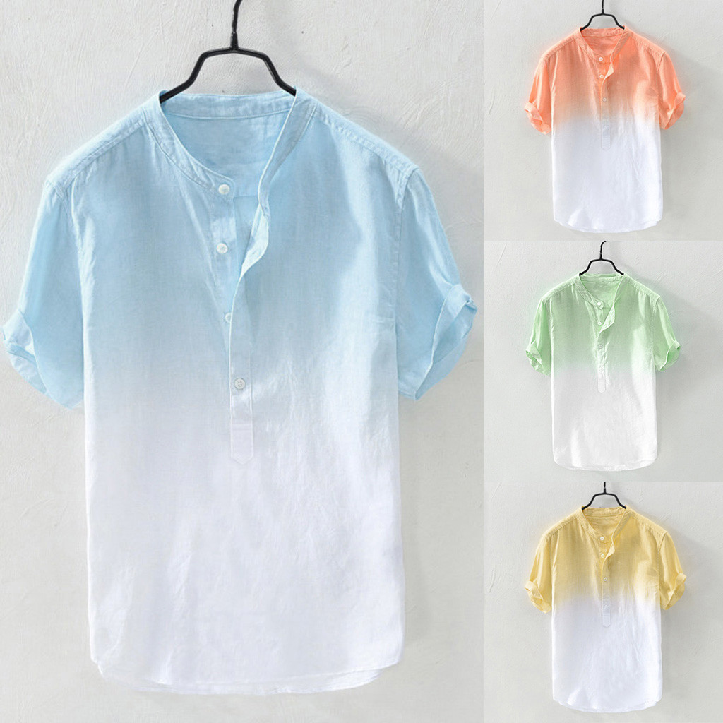 Summer Shirt Men's Cool And Thin Breathable Collar Hanging Dyed Gradient Cotton Shirt Chemise Manche Courte Homme