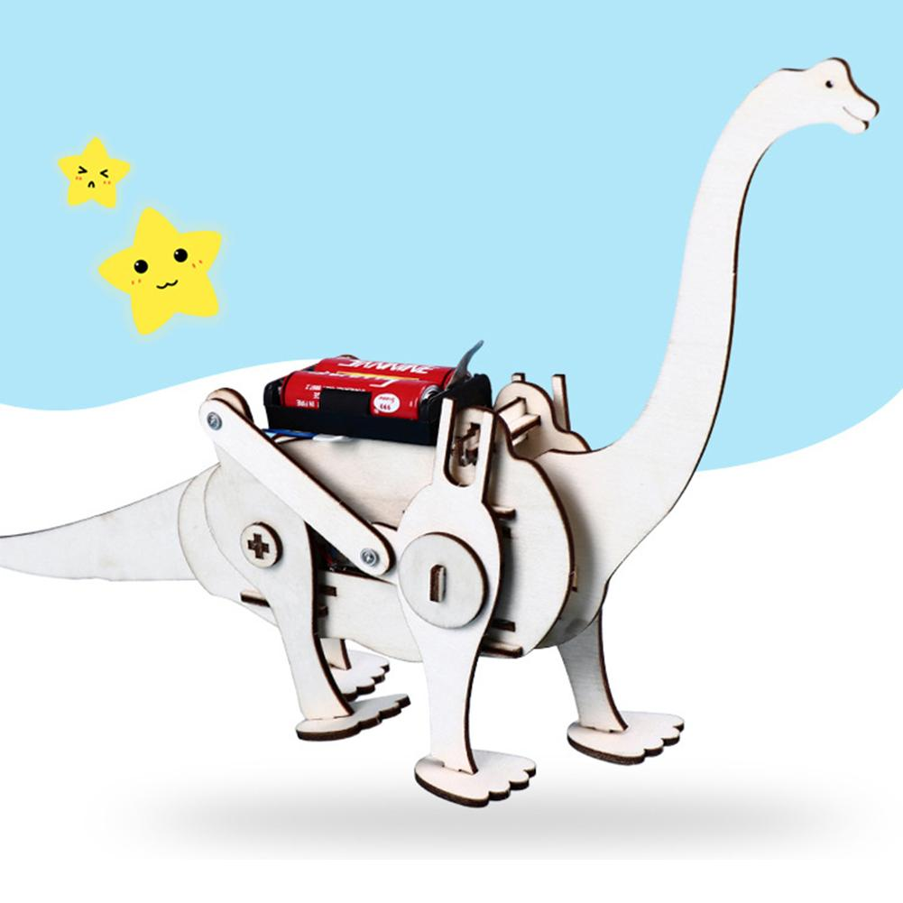 DIY Wood  Electric T-Rex Dinosaurs Assembling Puzzle Toy Tyrannosaurus Model Educational Toys Kid Science Kit Teaching Tool
