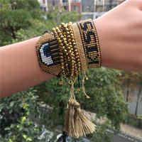 Pulsera de borla de moda para Mujer oro ojo malvado beso Pulseras Mujer hecho a mano bohemio joyas pulsera de cuentas