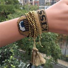 Fashion Tassel Bracelet Set For Women Gold Evil Eye Kiss MIYUKI Bracelets Pulseras Mujer Handmade Bohemian Bead Bracelet Jewelry kiss of evil