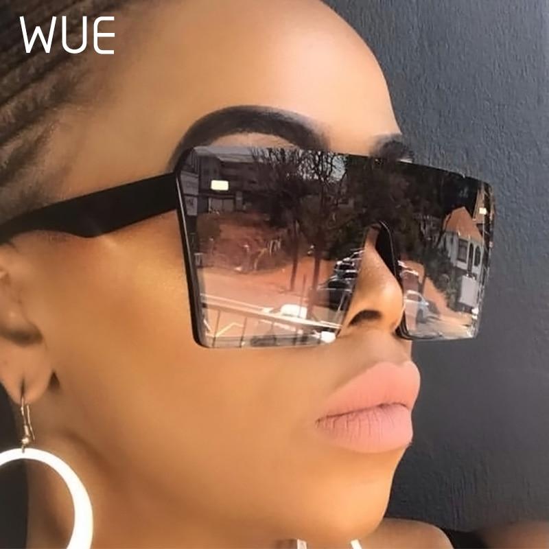 WUE 2019 Flat Top Oversize Square Sunglasses Women Fashion Retro Gradient Sun Glasses Men Blue Big Frame Vintage Eyewear UV400