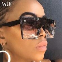 Gafas de sol WUE 2019 de gran tamaño, Cuadrado de gran tamaño, gafas de sol Retro a la moda con degradado, gafas azules con marco grande Vintage UV400
