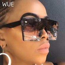 WUE 2019 Flat Top Oversize Square Sunglasses Women Fashion Retro Gradient Sun Gl